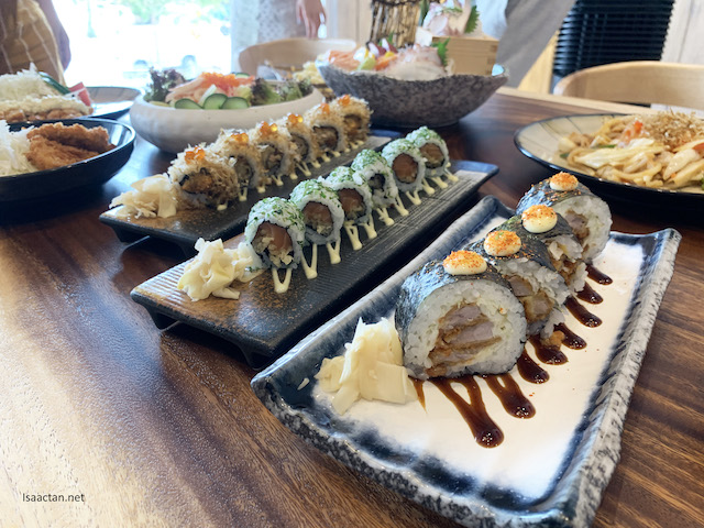 Pork Sushi Rolls (Ryoshi Buta Maki),  Cranky Salmon Maki and Oyster Maki,