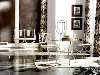Mesa de comedor en forja redonda con cristal