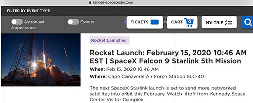 We get about 3-4 days advance notice that the SpaceX Starlink mission is go (Source: kennedyspacecenter.com)