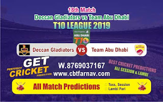 T10 League 2019 TAB vs DEG 18th T10 League 2019 Match Prediction Today Reports