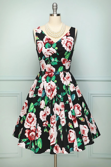 1950s Printed Swing Dress