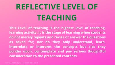 reflective level teaching, 3rd level teaching