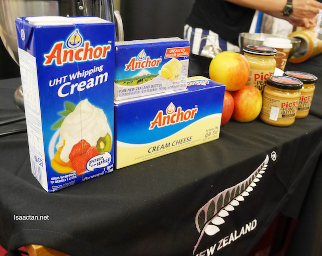 Anchor cream cheese, and New Zealand products were used