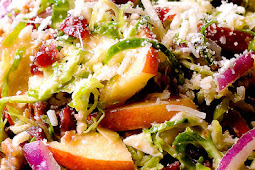 HONEY MUSTARD BRUSSELS SPROUT SALAD WITH CRANBERRIES, APPLES AND PECANS