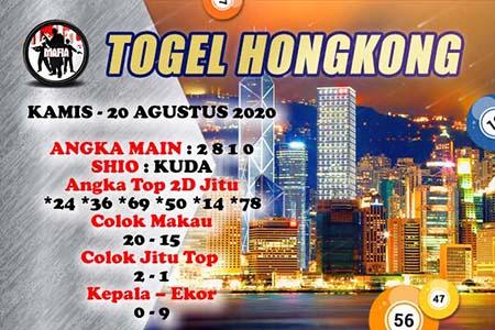 Prediksi Mafia Togel HK Kamis 20 Agustus 2020