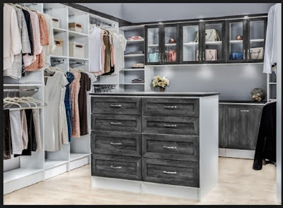 modern dressing room designs with island of chest of drawers