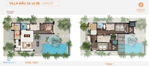 phối cảnh mẫu villa 2 triple keys tại angsana Hồ Tràm