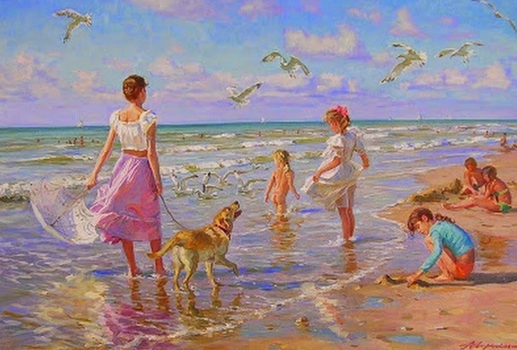 pinturas-de-niños-en-playa
