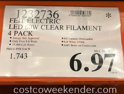 Deal for a 4 pack of Feit Electric 60w Crystal Clear Filament LED bulbs at Costco
