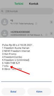 Cek kuota Indosat Info