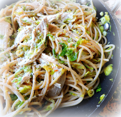 SPAGHETTI WITH ROASTED CHICKEN & SHREDDED SPROUTS