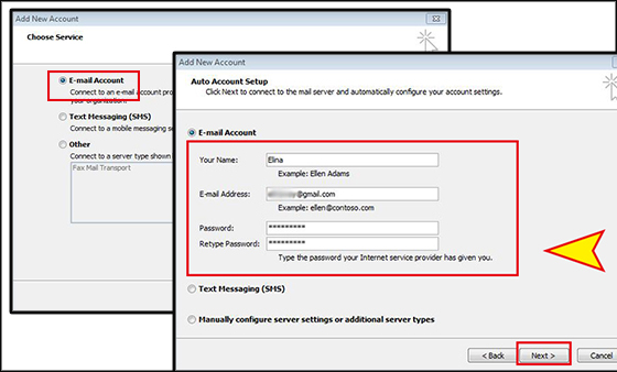 automatically add Gmail account to Outlook