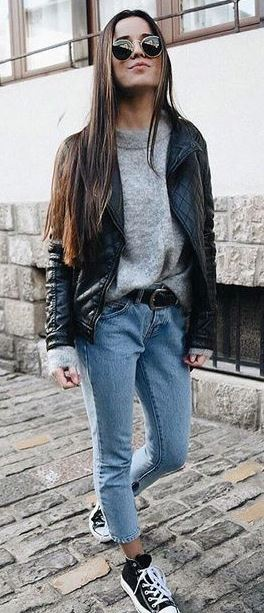 trendy outfit_black jacket + grey sweater + jeans + converse