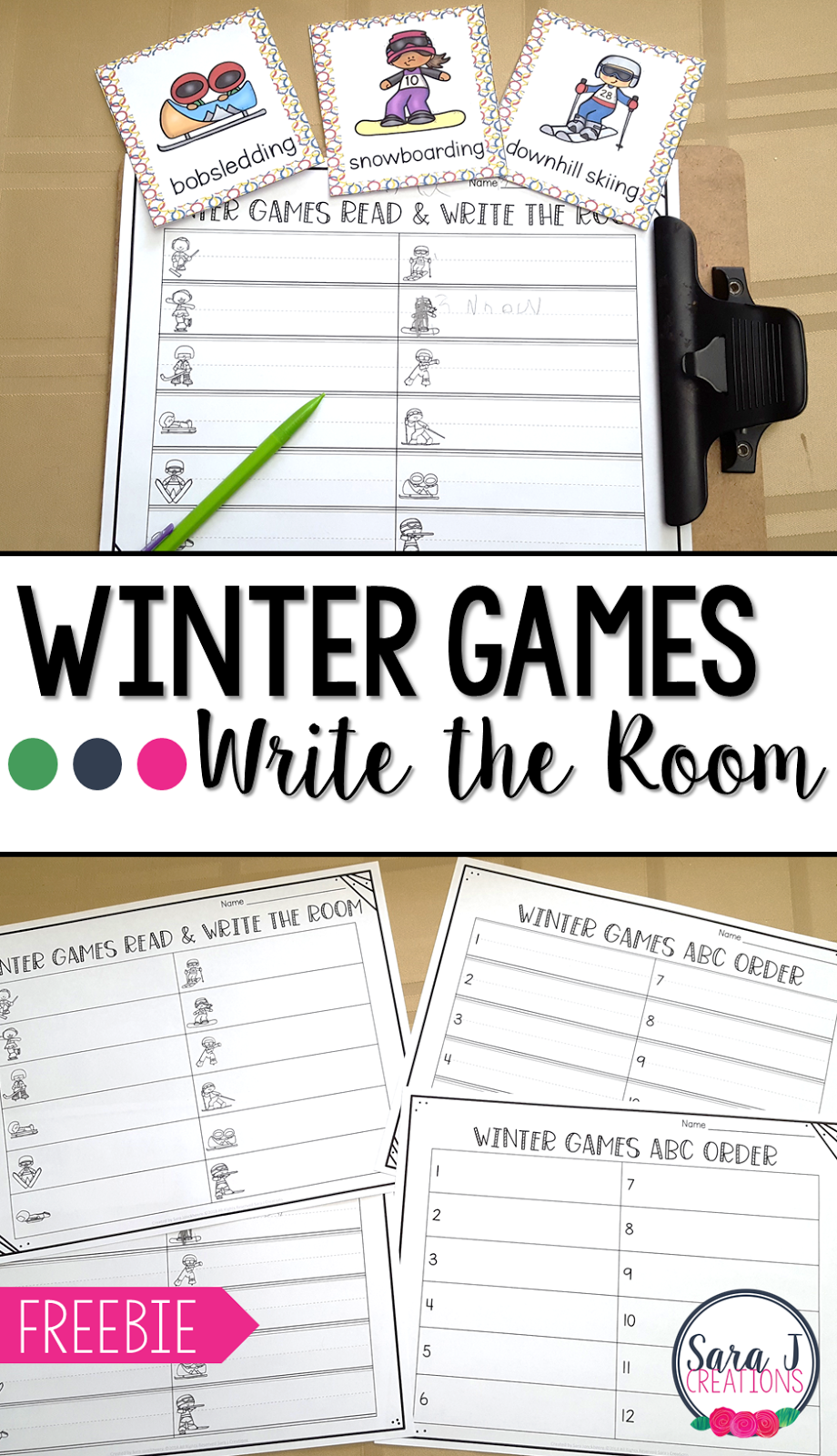 Grab this free Winter Games Read and Write the Room. Perfect vocabulary and literacy practice for preschool, kindergarten and first grade.