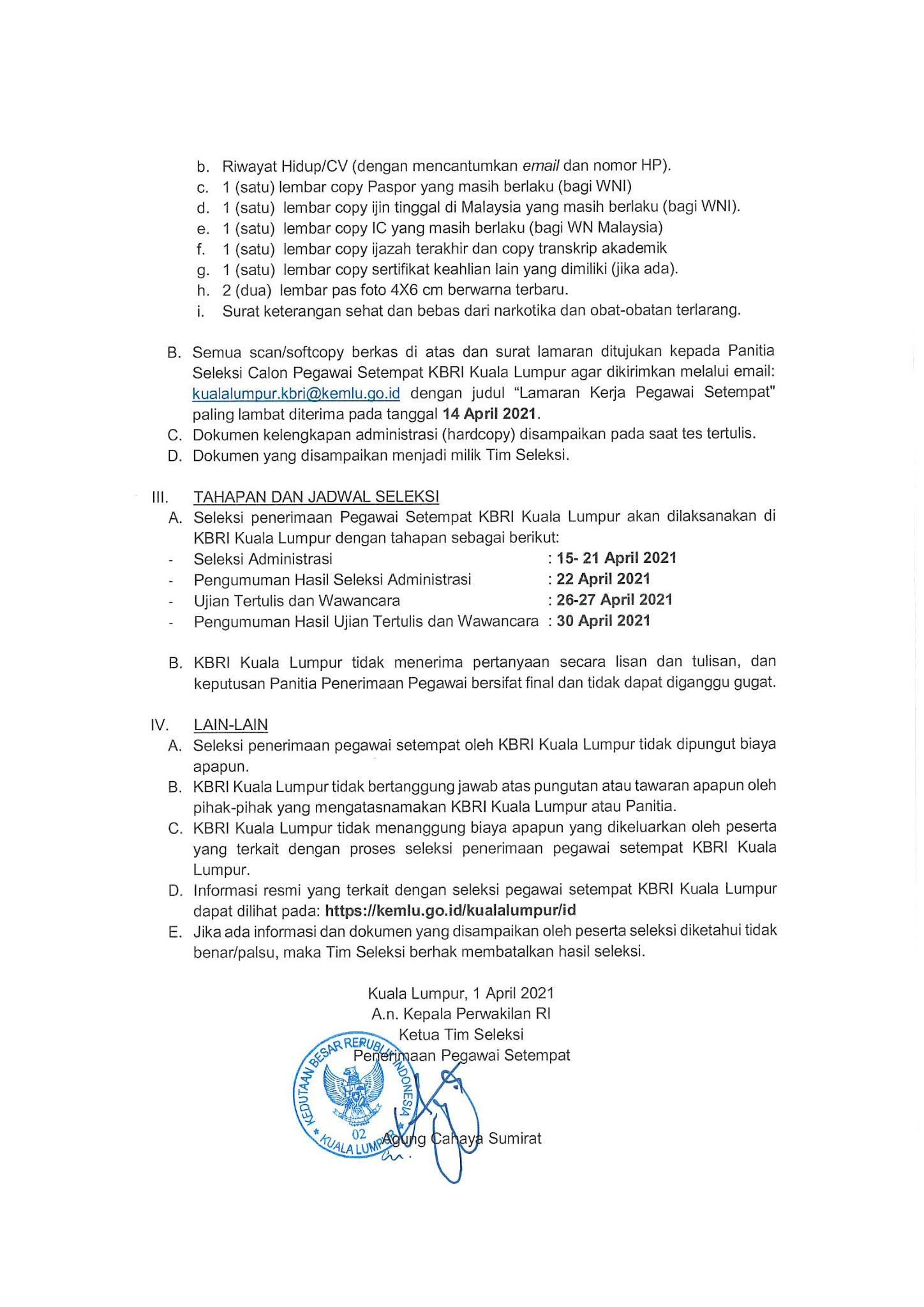 Seleksi Penerimaan Pegawai KBRI Kuala Lumpur