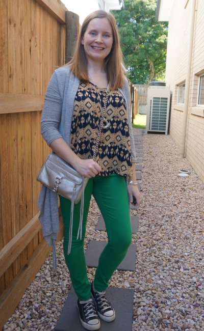 green skinny jeans, grey cardigan and yellow and navy aztec print tank with silver mini mac bag and accessories | awayfromblue