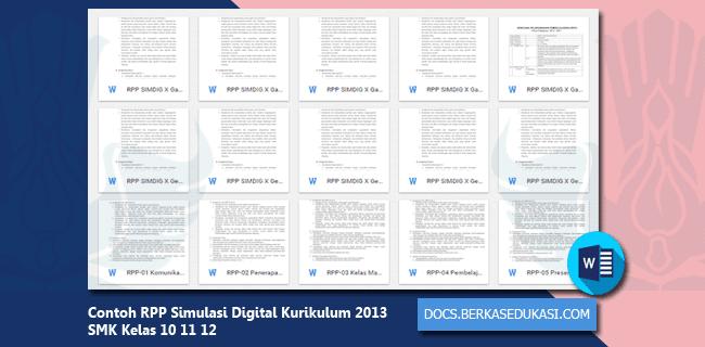 Contoh RPP Simulasi Digital Kurikulum 2013 SMK Kelas 10 11 12