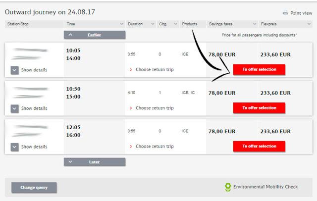 Print de tela da Deustche Bahn, comprando passagem de trem para Alemanha