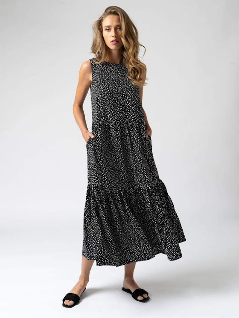 saint and Sofia women's spot maxi summer dress tencel