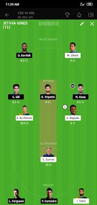 CSK VS KKR Dream 11 IPL Match 49 100% Winning The Dream Team 29 Oct 2020