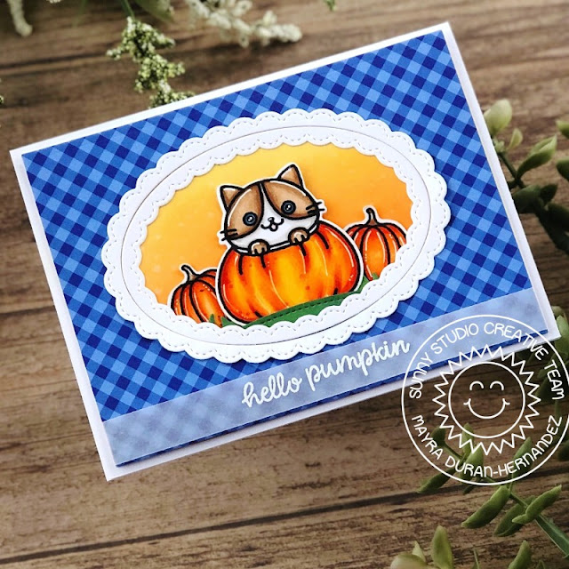 Sunny Studio Stamps: Scaredy Cat Harvest Mice Stitched Oval Fall Themed Cards by Mayra Duran-Hernandez