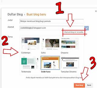 membuat dan memilih nama blog