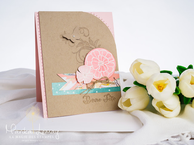 carte avec le jeu Falling flowers Stampin' Up!