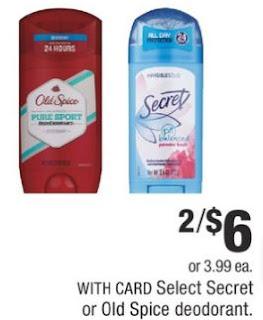 Select Secret Or Old Spice Deodorant