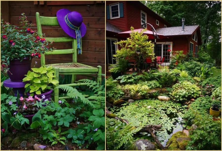 silla verde y plantas de sombra