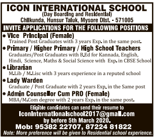Icon International School Teacher Jobs