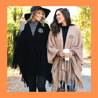 fall, monogram, poncho, wrap, black, camel, personalized, marleylilly