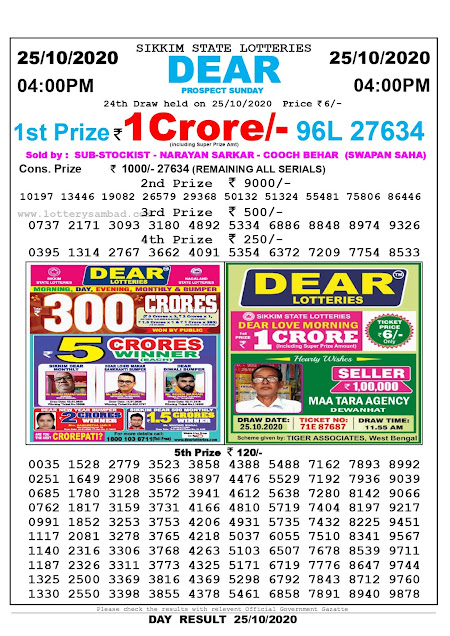 Sikkim State Lottery Result 25-10-2020, Sambad Lottery, Lottery Sambad Result 4 pm, Lottery Sambad Today Result 4 00 pm, Lottery Sambad Old Result