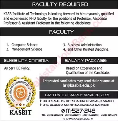 New Jobs in Pakistan KASB Institute of Technology Karachi Jobs 2021
