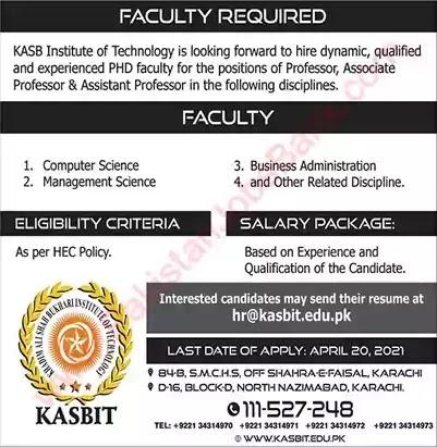 New Jobs in Pakistan KASB Institute of Technology Karachi Jobs 2021
