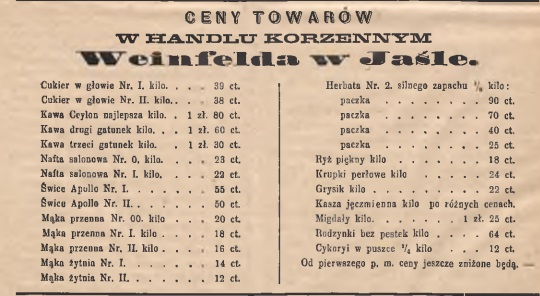 Jasło ceny 1884 XIX wiek