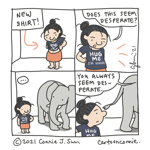 Comic strip about hugging, social contact, and desperation after a pandemic, sketchbook drawing by Connie Sun, cartoonconnie