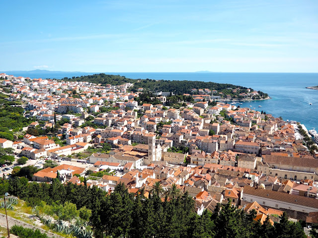 View of Hvar Town from Spanish Fortress, Hvar, Dalmatian Coast Islands, Croatia