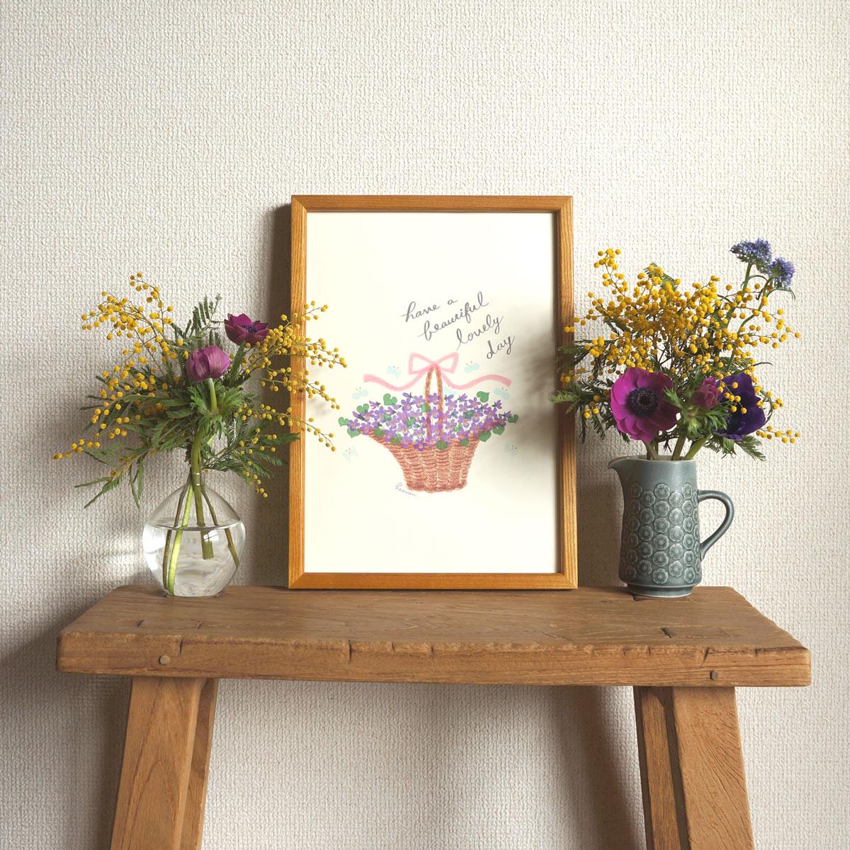 春の新作♩「スミレの花かごポスター」が出来上がりました⭐︎