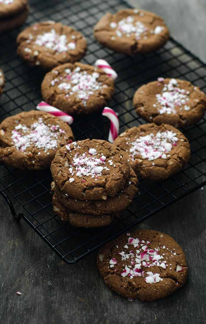 Eggless Chocolate Cookies with Crushed Candy Canes
