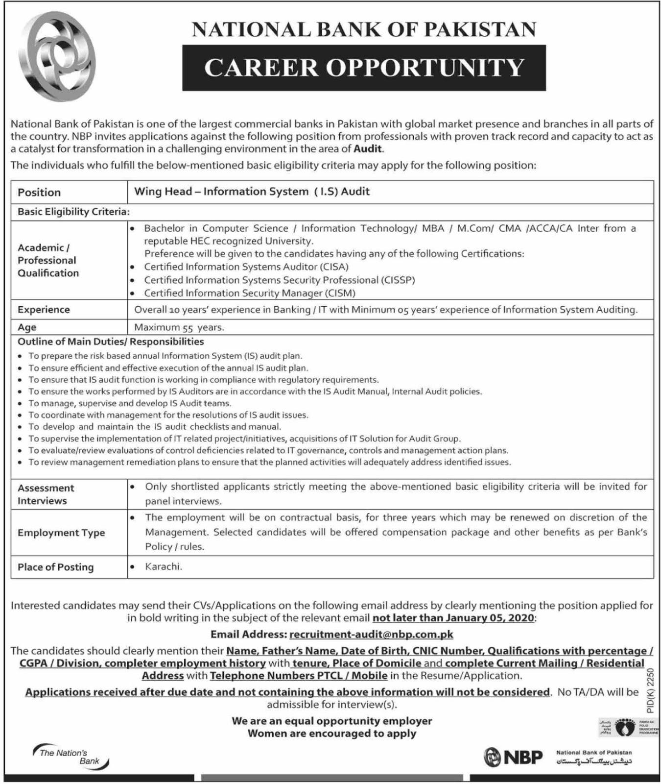 NBP Jobs 2019 National Bank of Pakistan