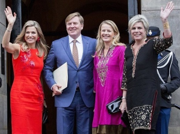 Queen Maxima wore NATAN Dress - Edouard Vermeulen Fall Winter 2016. Princess Beatrix, Princess Mabel, Princess Laurentien