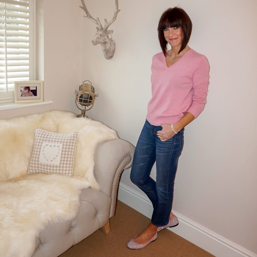 my midlife fashion, marks and spencer pure cashmere ribbed hem v neck jumper, french sole henrietta glitter ballet pumps, j crew billie demi boot crop jeans