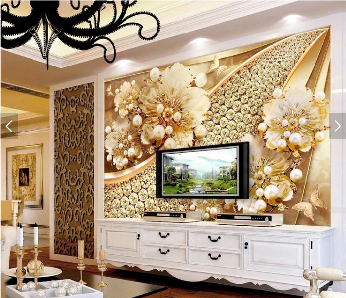 Tranh 3d dán tường hoa ngọc trai  kim cương phòng khách đẹp