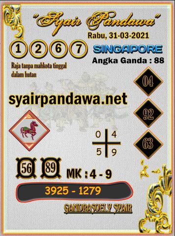 Gambar Syair Pandawa Sgp rabu 31 maret 2021