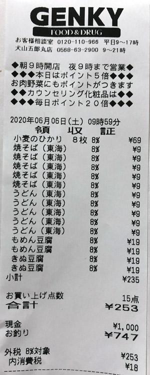 ゲンキー 犬山五郎丸店 2020/6/6 のレシート