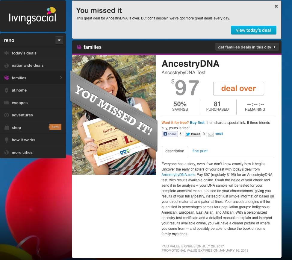 Your Genetic Genealogist: LivingSocial's AncestrybyDNA Offer