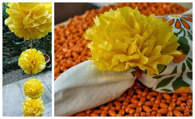 DIY tissue paper marigold