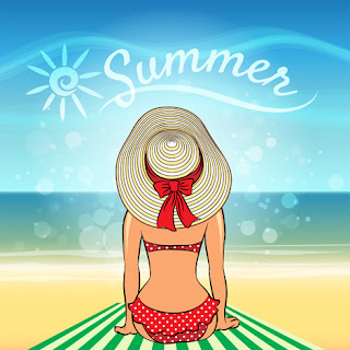 Clipart Image of a Woman Sitting on the Sand by the Sea