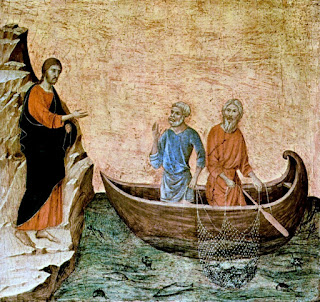 Duccio, di Buoninsegna, d. 1319 painting 	Christ Calling the Apostles Peter and Andrew; a picture of Jesus standing on the shore and Andrew and Peter in a boat