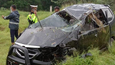 Mobil Avanza Alami Kecelakaan Tunggal di Jalan Tol Medan-Tebingtinggi, 4 Warga Asahan Tewas